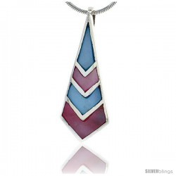 "Sterling Silver Pink & Blue Mother of Pearl Inlay Pendant, 1 5/16"" (33 mm) tall"