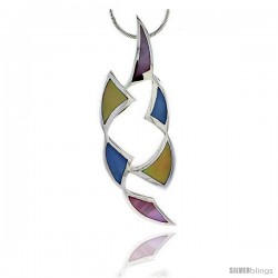 "Sterling Silver Freeform Pink, Blue & Light Yellow Mother of Pearl Inlay Pendant, 2 5/16"" (59 mm) tall"