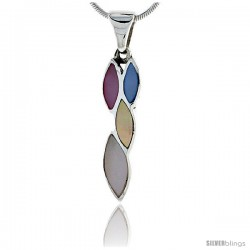 Sterling Silver Marquise-shaped Pink, Blue, Light Yellow & White Mother of Pearl Inlay Pendant, 1 3/16 (30 mm) tall