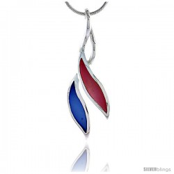 "Sterling Silver Freeform Pink & Blue Mother of Pearl Inlay Pendant, 1 11/16"" (43 mm) tall"