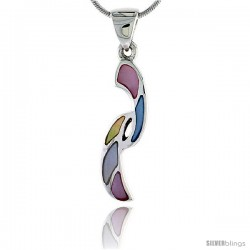 "Sterling Silver Freeform Pink, Blue, Light Yellow & White Mother of Pearl Inlay Pendant, 1 1/4"" (32 mm) tall"