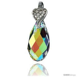Sterling Silver Pendant w/ Yellow Briolette Swarovski Crystal & Cubic Zirconia Stones, 1 1/8 in. (58 mm) tall, Rhodium Finish