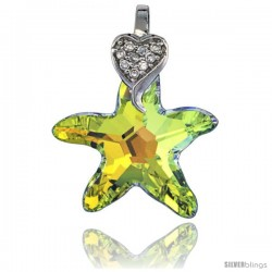 Sterling Silver Pendant w/ Yellow Starfish Swarovski Crystal & Cubic Zirconia Stones Star, 1 in. (26 mm) tall, Rhodium Finish