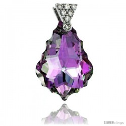 Sterling Silver Pendant w/ Purple Baroque Swarovski Crystal & Cubic Zirconia Stones, 1 in. (25 mm) tall, Rhodium Finish