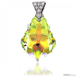 Sterling Silver Pendant w/ Yellow Baroque Swarovski Crystal & Cubic Zirconia Stones, 1 in. (25 mm) tall, Rhodium Finish