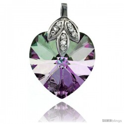 Sterling Silver Pendant w/ Purple Heart Swarovski Crystal & Cubic Zirconia Stones, 1 in. (25 mm) tall, Rhodium Finish