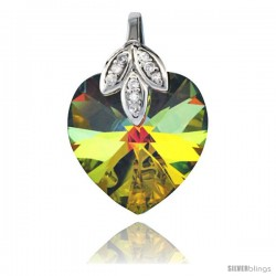 Sterling Silver Pendant w/ Yellow Heart Swarovski Crystal & Cubic Zirconia Stones, 1 in. (25 mm) tall, Rhodium Finish