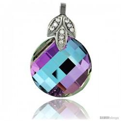Sterling Silver Pendant w/ Purple Chessboard Round Swarovski Crystal & Cubic Zirconia Stones, 1 1/16 in. (27 mm) tall, Rhodium