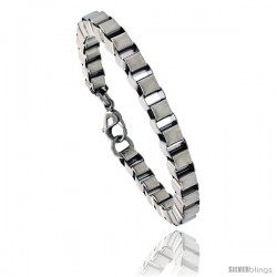 Stainless Steel Box Chain Link Bracelet, 1/4 in wide, 7 in