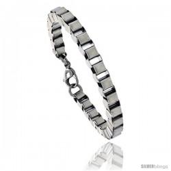 Stainless Steel Box Chain Link Bracelet, 1/4 in wide, 7 in