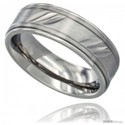 Surgical Steel Mens Flat Wedding Band Ring 7mm Three Diagonal Carved Stripes Pattern Comfort Fit