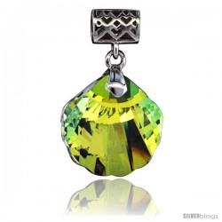 Sterling Silver Pendant w/ Yellow Clam Shell Swarovski Crystal & Cubic Zirconia Stones, 1 1/16 in. (27 mm) tall, Rhodium Finish