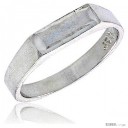 Sterling Silver Rectangular ID Baby Ring / Kid's Ring / Toe Ring (Available in Size 1 to 5) -Style Br57