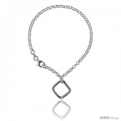 Sterling Silver Square Bracelet, 7 1/4 in long