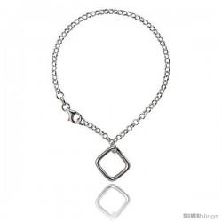 Sterling Silver Square Bracelet, 7 1/4 in long