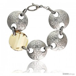 Sterling Silver Extra Large Floral Round Link Bracelet w/ Smoky Quartz Crystal Disc, 7 in