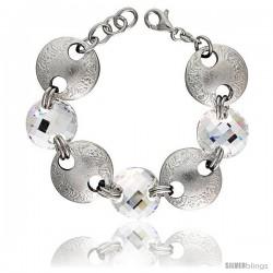 Sterling Silver Large Floral Round Link Bracelet w/ White Quartz Crystal Discs, 7 in