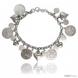 Sterling Silver Rolo Link Hearts & Coins Charm Bracelet, 7 in