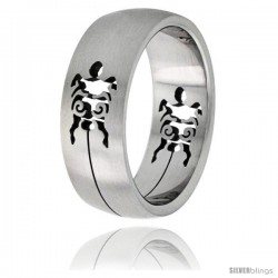 Surgical Steel Turtle Ring 8mm Domed Wedding Band Cut-out Design