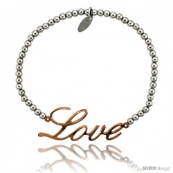 Sterling Silver 7 in. Ball Bead Link Bracelet w/ Rose Gold Finish LOVE Plate, 5/8 in. (16 mm) wide