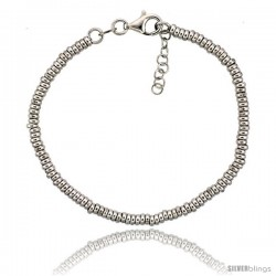 Sterling Silver Doughnut Hole 7 in. Bead Bracelet w/ 1/2 in. Extension in White Gold Finish, 1/8 in. (3 mm) wide