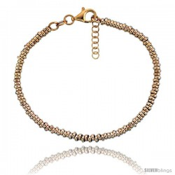 Sterling Silver Doughnut Hole 7 in. Bead Bracelet w/ 1/2 in. Extension in Rose Gold Finish, 1/8 in. (3 mm) wide
