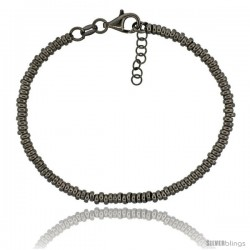 Sterling Silver Doughnut Hole 7 in. Bead Bracelet w/ 1/2 in. Extension in Black Ruthenium Finish, 1/8 in. (3 mm) wide