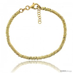 Sterling Silver Doughnut Hole 7 in. Bead Bracelet w/ 1/2 in. Extension in Yellow Gold Finish, 1/8 in. (3 mm) wide