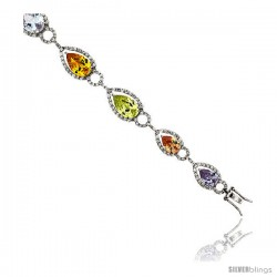 "Sterling Silver & Rhodium Plated Ladies' 7 1/4"" Bracelet, w/ Pear Cut Cubic Zirconia Stones in Assorted Colors (Peridot, Pink"