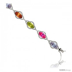 "Sterling Silver & Rhodium Plated Ladies' 7 1/2"" Bracelet, w/ Marquise Cut Cubic Zirconia Stones in Assorted Colors (Peridot"