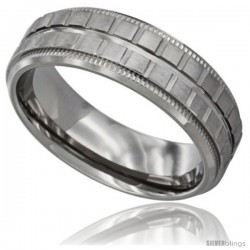 Surgical Steel Mens Flat Wedding Band Ring Square Blocks pattern 7mm Millgrain-edged Comfort Fit