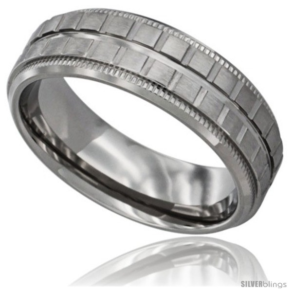 Surgical Steel Mens Flat Wedding Band Ring Square Blocks Pattern