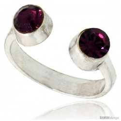 Amethyst-colored Crystals (February Birthstone) Adjustable (Size 2 to 4) Toe Ring / Kid's Ring in Sterling Silver, 3/16 in