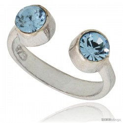 Aquamarine-colored Crystals (March Birthstone) Adjustable (Size 2 to 4) Toe Ring / Kid's Ring in Sterling Silver, 3/16 in