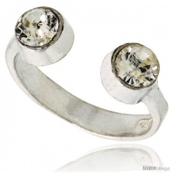 Clear Crystals (April Birthstone) Adjustable (Size 2 to 4) Toe Ring / Kid's Ring in Sterling Silver, 3/16 in. (5 mm) wide