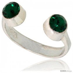 Emerald-colored Crystals (May Birthstone) Adjustable (Size 2 to 4) Toe Ring / Kid's Ring in Sterling Silver, 3/16 in. (5 mm)