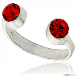 Ruby-colored Crystals (July Birthstone) Adjustable (Size 2 to 4) Toe Ring / Kid's Ring in Sterling Silver, 3/16 in. (5 mm) wide