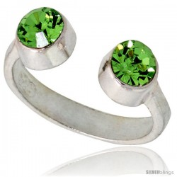 Peridot-colored Crystals (August Birthstone) Adjustable (Size 2 to 4) Toe Ring / Kid's Ring in Sterling Silver, 3/16 in. (5 mm)