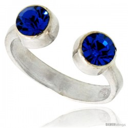 Blue Sapphire-colored Crystals (September Birthstone) Adjustable (Size 2 to 4) Toe Ring / Kid's Ring in Sterling Silver, 3/16