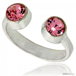 Pink Tourmaline-colored Crystals (October Birthstone) Adjustable (Size 2 to 4) Toe Ring / Kid's Ring in Sterling Silver, 3/16