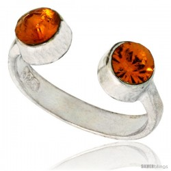 Citrine-colored Crystals (November Birthstone) Adjustable (Size 2 to 4) Toe Ring / Kid's Ring in Sterling Silver, 3/16 in