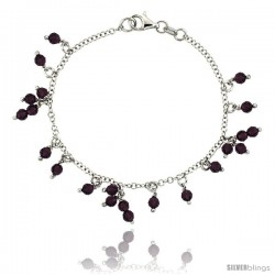 Sterling Silver Amethyst Swarovski Crystals 7 in. Charm Bracelet