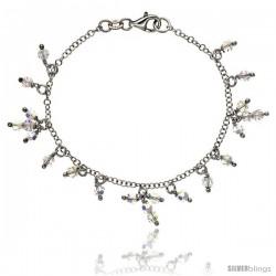 Sterling Silver Clear Swarovski Crystals 7 in. Charm Bracelet