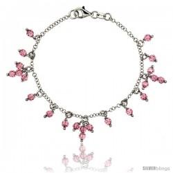 Sterling Silver Pink Sapphire Swarovski Crystals 7 in. Charm Bracelet