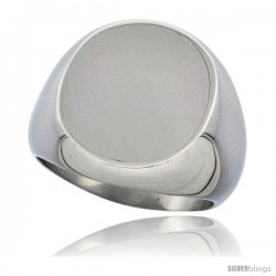 Surgical Steel Large Oval Signet Ring Solid Back Flawless Finish 3/4 in