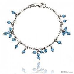 Sterling Silver Blue Topaz Swarovski Crystals 7 in. Charm Bracelet