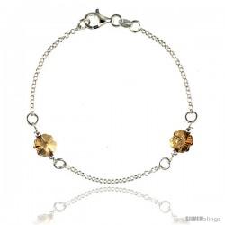Sterling Silver Flower Citrine Swarovski Crystals 7 in. Rolo Link Bracelet