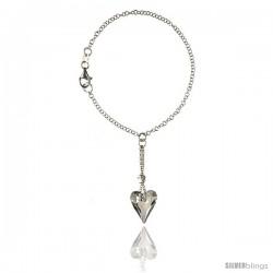 Sterling Silver Heart Charm Swarovski Crystal 7 in. Rolo Link Bracelet 9/16 in (15 mm) wide w/ drop