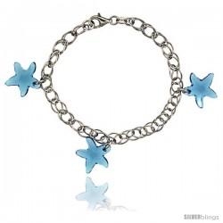 Sterling Silver Starfish Blue Topaz Swarovski Crystals 7 in. Oval Link Bracelet