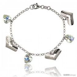 Sterling Silver Heart Swarovski Crystals 7 in. Oval Link Charm Bracelet